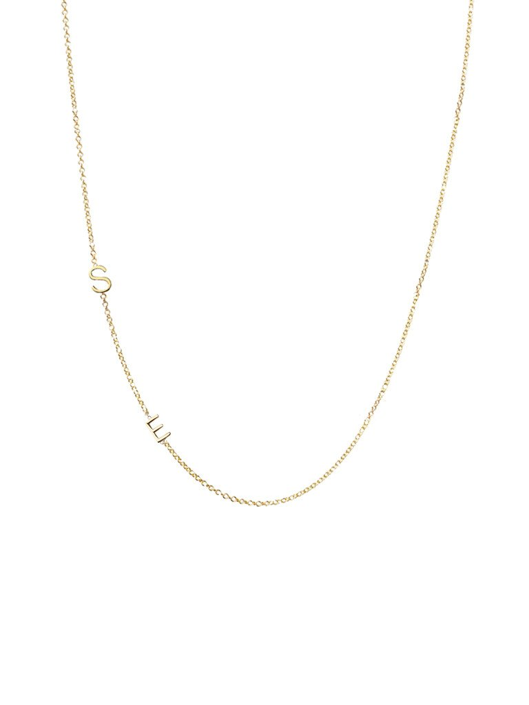 Right Hand Gal Solid Gold Asymmetrical Initial Necklace