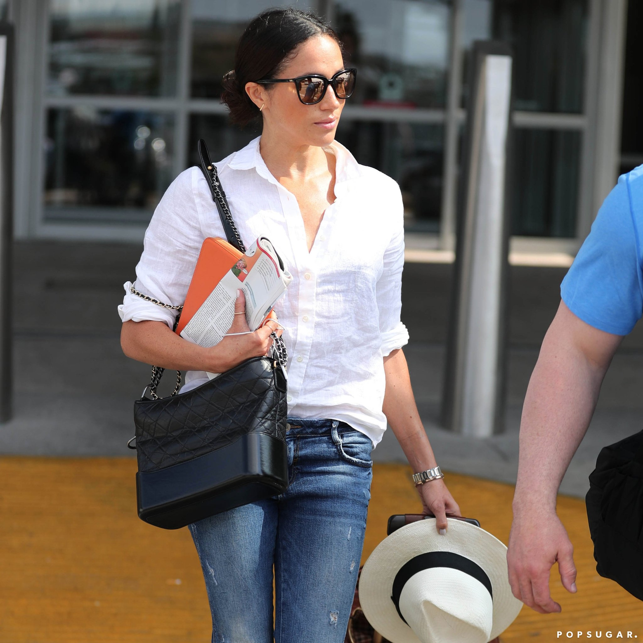 Meghan Markle In Sunglasses Mykita Shirt Jcrew Jacket