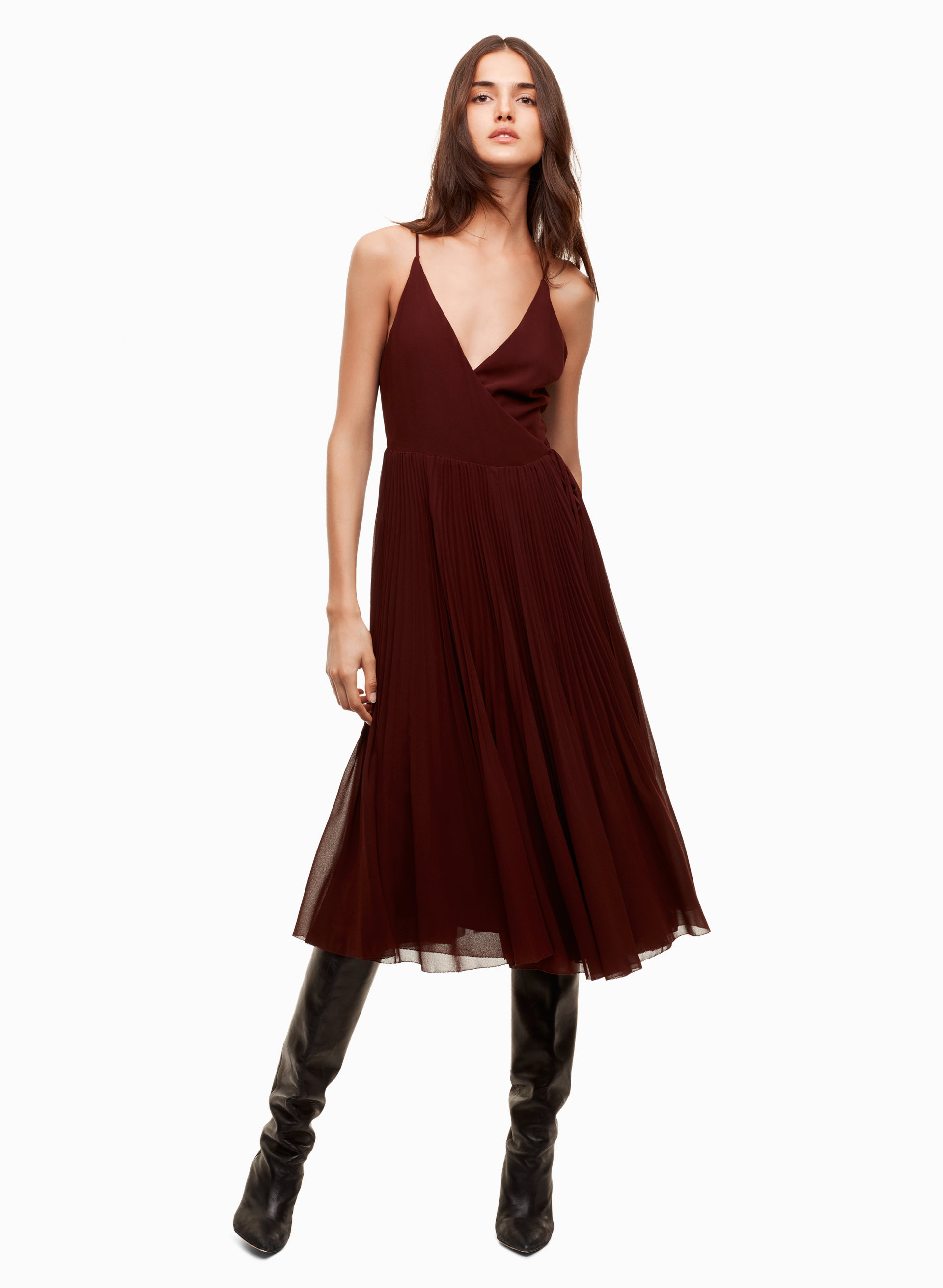 11aa63b7e757 Aritzia Wilfred Beaune Pleated Midi Dress - Meghan's Mirror