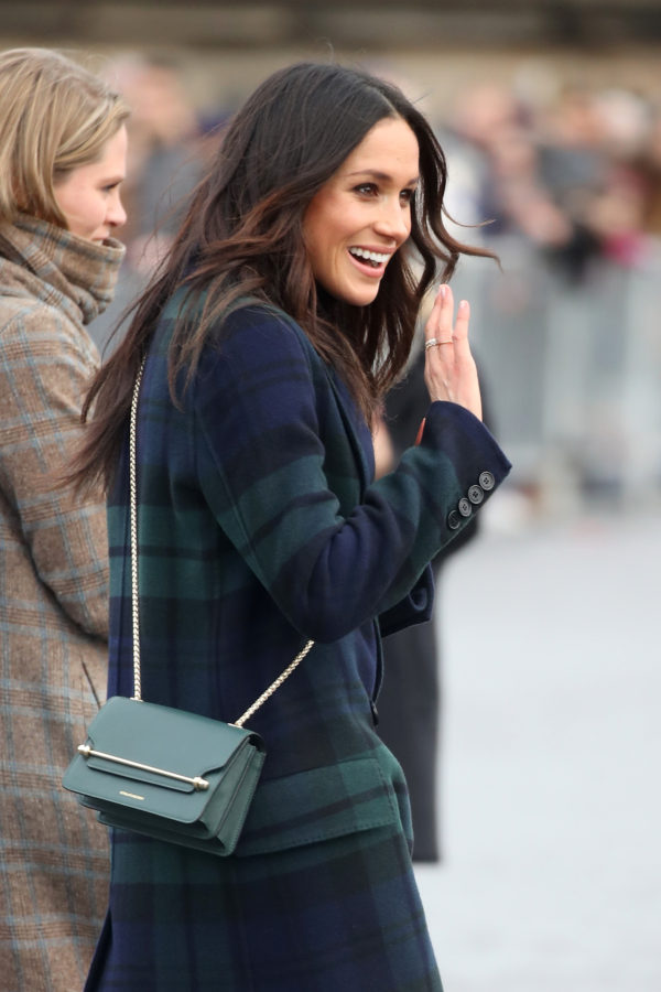 EDINBURGH, SCOTLAND - FEBRUARY 13: Meghan Markle arrives to Edinburgh Castle with Prince Harry on February 13, 2018 in Edinburgh, Scotland.