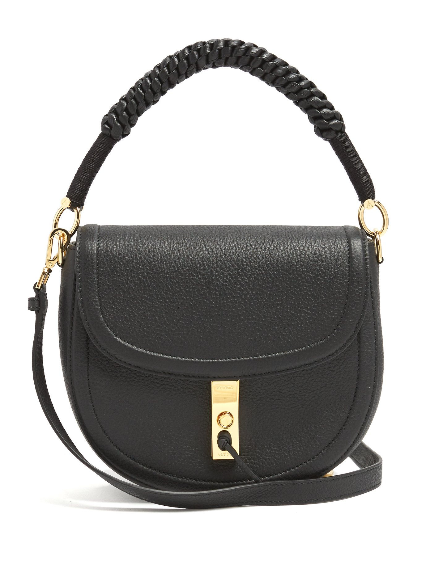 b1f151cb1 Braided-leather top handle, adjustable and detachable shoulder strap.  Gold-tone metal hardware and protective feet. Black lacquered edges. Back  slip pocket