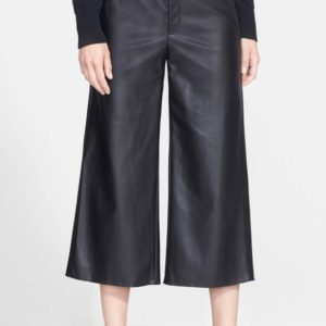 90a2eca123 Pink Tartan Faux Leather Wide Leg Crop Pants