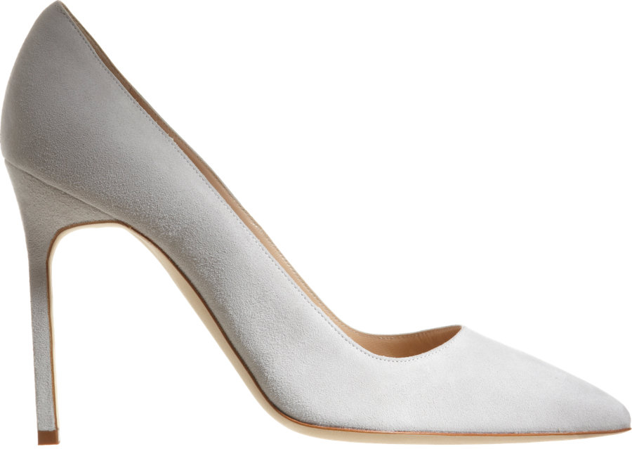 53208ae668ca0 4″/105mm heel (approximately). Pointed toe. Suede-covered stiletto heel.  Slips on. Smooth leather lining. Leather sole. Available in Light Grey.