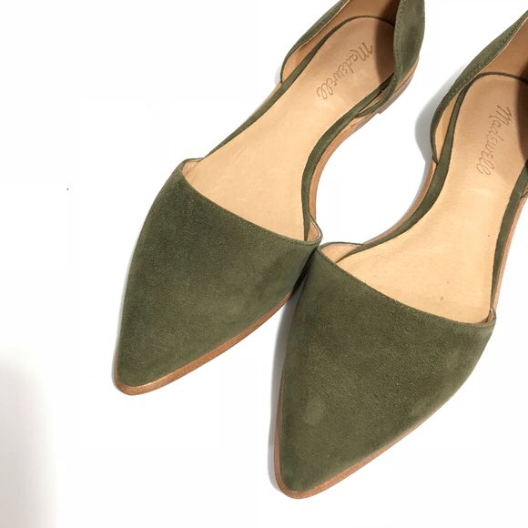 Madewell D'Orsay Flats In Olive