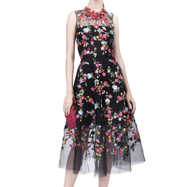 Ladies Sleeveless White color Dress with Floral Print and flower Embroidery