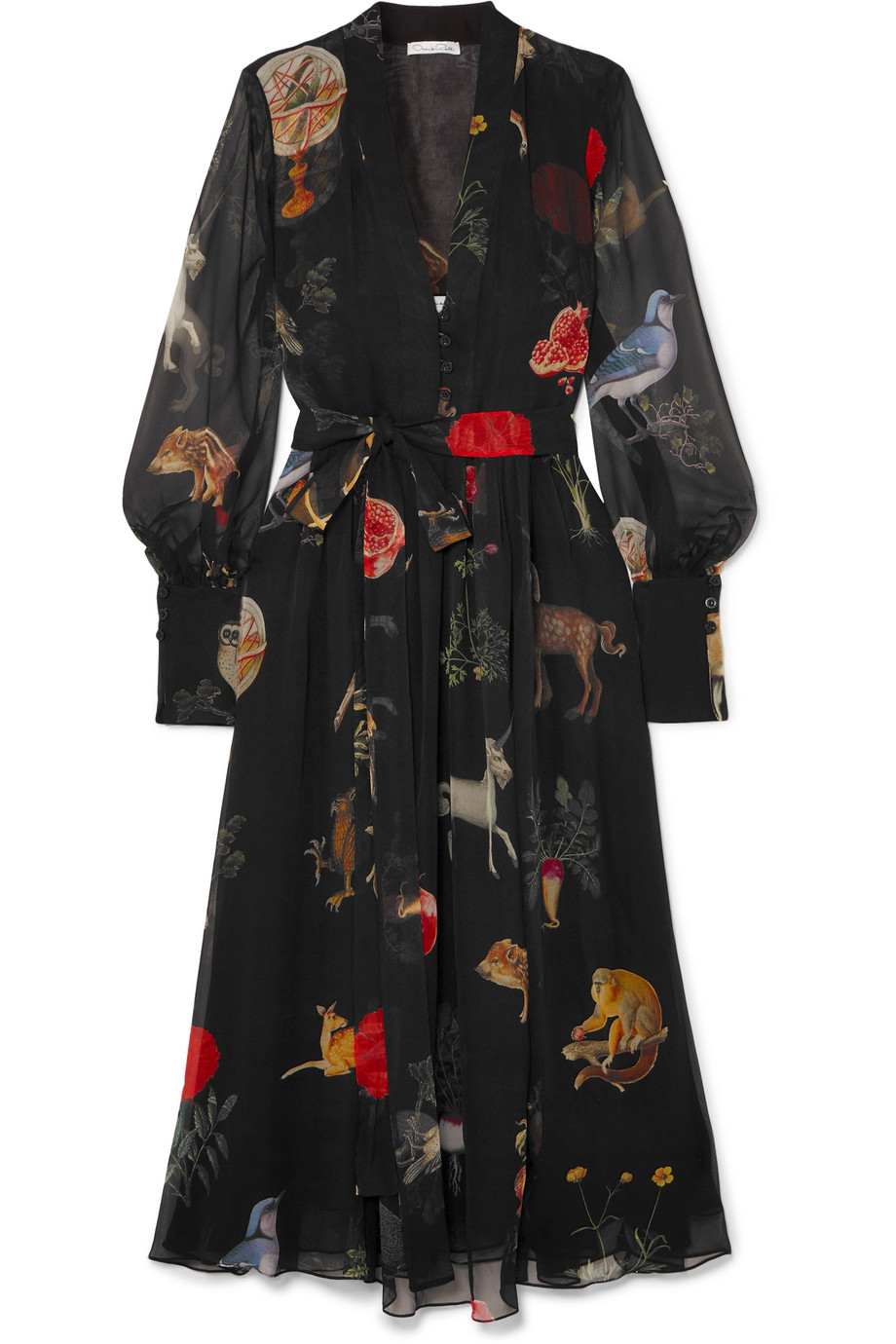 Oscar de la Renta Chiffon Dress Meghan Markle