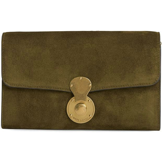 22ac38c8945a The foldover clutch is made from a soft olive suede fabric