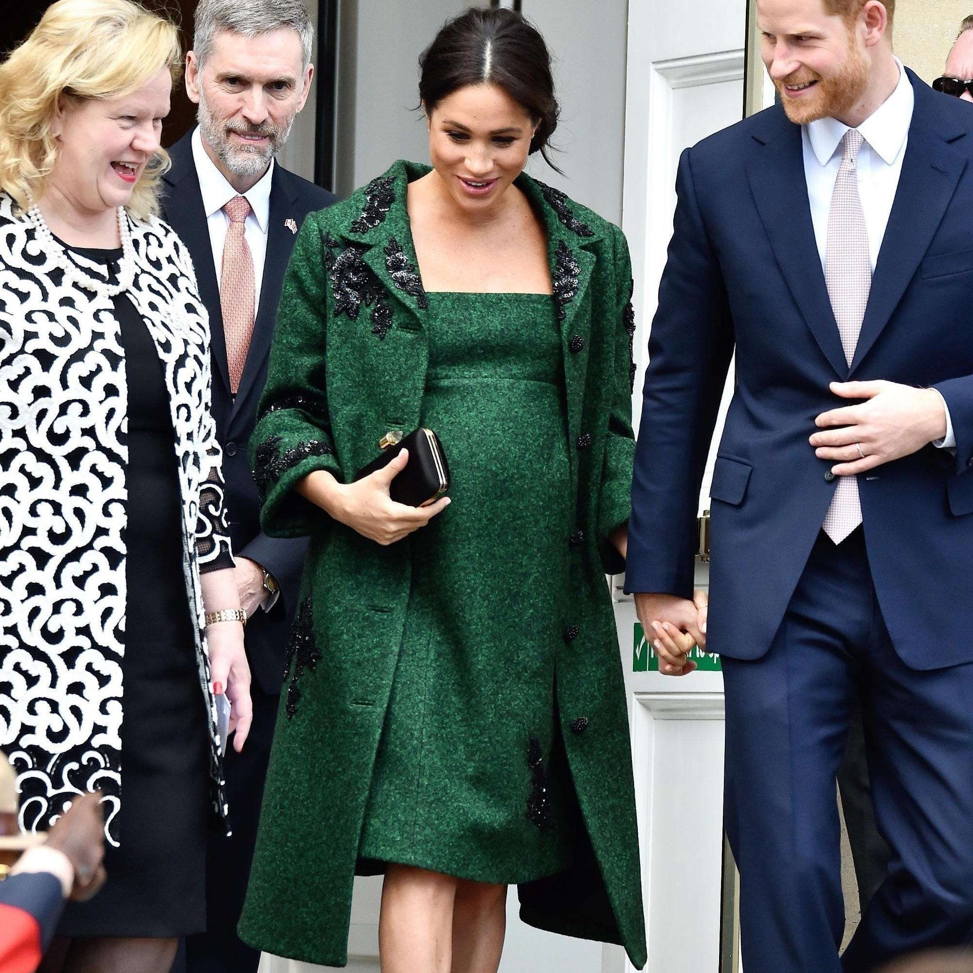Meghan Markle Green Coat Dress Maternity